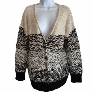 Roxy V-Neck Wool Blend Button Front Cardigan M